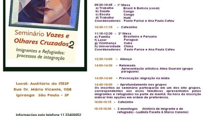 Seminário Vozes e Olhares 2: Imigrantes e refugiados processo de integracao.