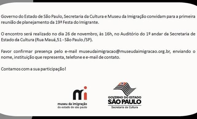 Reunião de Planejamento da 19 Festa do Imigrante.